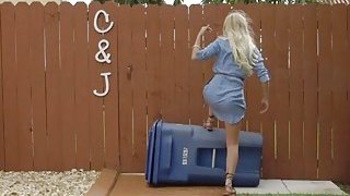 Amateur blondie Brice Bardot flies a drone and gets banged hard