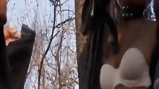 Sexy African slave tortured and banged outdoors