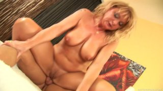 Chubby blonde milf Rosalyn rides young guy Jeremy N